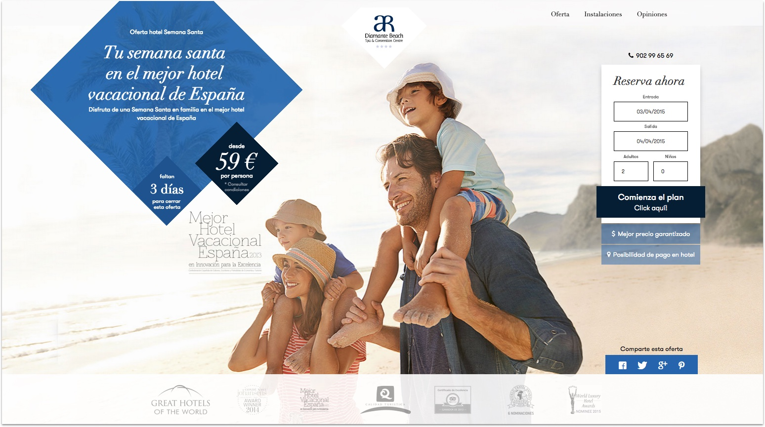 Landing page Diamante Beach